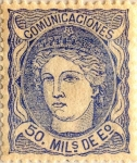 Stamps : Europe : Spain :  50 milésimos de escudo 1870