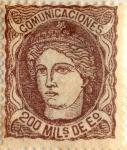 Sellos de Europa - España -  200 milésimos de escudo 1870