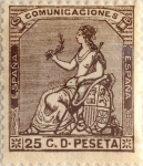 Stamps Spain -  25 céntimos 1873