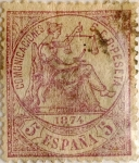 Stamps Spain -  5 céntimos 1874