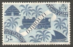 Stamps : Africa : Djibouti :  Locomotora, barcaza y choza