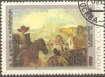 Stamps Russia -  COMPAÑEROS  DE  VIAJE,  PINTURA  DE  U. M. DZHAPARIDZE (1936).
