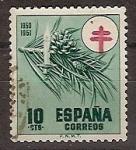 Sellos de Europa - España -  ESPAÑA SEGUNDO CENTENARIO USD Nº 1085 (0) 10C VERDE PRO TUBERCULOSOS