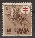 Sellos de Europa - España -  ESPAÑA SEGUNDO CENTENARIO USD Nº 1086 (0) 50C+10C CASTAÑO PROTUBERCULOSOS