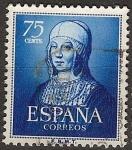 Sellos de Europa - España -  ESPAÑA SEGUNDO CENTENARIO USD Nº 1093 (0) 75C AZUL ISABEL LA CATOLICA