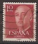 Sellos de Europa - España -  ESPAÑA SEGUNDO CENTENARIO USD Nº 1143 (0) 10C ROJO BURDEOS GENERAL FRANCO.