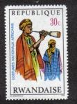 Sellos del Mundo : Africa : Rwanda : Músico con flauta de madera, Níger