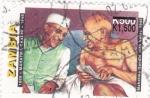 Stamps Zambia -  Mahatma Gandhi y Nehru
