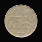 monedas del Mundo : Asia : Turquía :  25 Liras