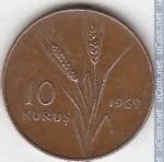 monedas del Mundo : Asia : Turquía :  10 Kurus