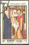 Stamps United Arab Emirates -  PINTURA.  PRESENTACIÒN  DEL  NIÑO  JESUS  EN  EL  TEMPLO  POR  MEMLING.