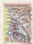 Stamps : Africa : Angola :  Mapa de Angola