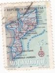 Stamps : Africa : Mozambique :  Mapa de Mozambique