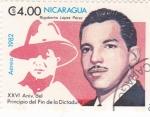 Sellos de America - Nicaragua -  Rigoberto López Pérez -XXVI Aniversario del principio del fin de la Dictadura