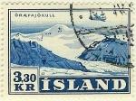 Stamps Iceland -  Avión en vuelo sobre regiones glaciares