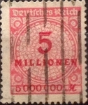Stamps Germany -  Intercambio nxrl 1,10 usd 5000000 mark 1923
