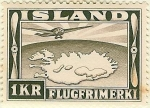 Stamps Europe - Iceland -  Mapa de Islandia