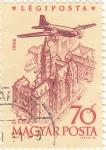 Stamps Hungary -  Avión sobrevolando Gyor