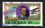 Sellos de America - Nicaragua -  Lindbergh, NYC-Paris route & plane