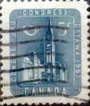 Stamps : America : Canada :  Intercambio 0,20 usd 5 cent 1957