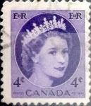 Stamps : America : Canada :  Intercambio 0,20 usd 4 cent 1954