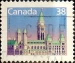 Stamps : America : Canada :  Intercambio 0,20 usd 38 cent 1988
