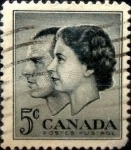 Stamps Canada -  Intercambio 0,20 usd 5 cent 1957