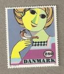 Sellos de Europa - Dinamarca -  Chica con pájaro
