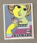 Stamps Denmark -  Chica con pájaro