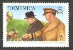 Stamps : America : Dominica :  397 - Centº del nacimiento de Winston Churchill, con Eisenhower