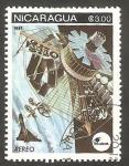 Stamps Nicaragua -  969 - Intelsat, Telecomunicaciones internacionales por satélites