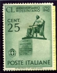 Sellos de Europa - Italia -  150 Aniversario del Nacimiento del compositor  Rossini. Monumento a Rosini en Pesara