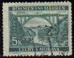 Sellos del Mundo : Europa : Checoslovaquia :  CHECOSLOVAQUIA BOHEMIA Y MORAVIA 1940 Scott 44 Sello Lainsitz Puente Cerca de Bechyně Usado