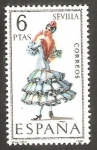 Stamps Spain -  1956 - Traje típico de Sevilla