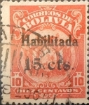 Stamps : America : Bolivia :  Intercambio 0,50 usd 15 sobre 10 cents. 1923