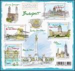 Stamps France -  HUNGRÍA - Budapest con las orillas del Danubio, el barrio del Castillo de Buda y la Avenida Andrássy
