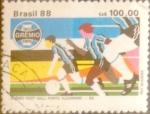 Stamps : America : Brazil :  Intercambio nf5xb 0,35 usd 100 cruzeiros 1988