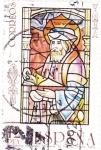Stamps Spain -  vidriera-personaje religioso-catedral de Toledo (17)