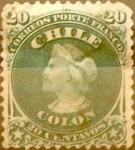 Stamps : America : Chile :  20 cents. 1867