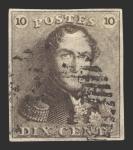 Sellos de Europa - Bélgica -  Leopoldo I - 10 c.