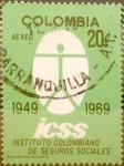Stamps : America : Colombia :  Intercambio 0,20 usd 20 cents. 1969