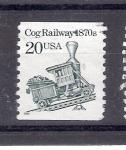 sello : America : Estados_Unidos : Tren de cremallera década de 1870