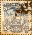 Stamps : America : Ecuador :  Intercambio 0,40 usd 5 cents. 1881