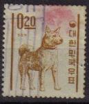 Stamps Asia - South Korea -  COREA SUR 1962 Scott360 Sello Animales Perro Jin-Do Usado