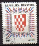 Sellos del Mundo : Europa : Croacia : CROACIA REPUBLIKA HRVATSKA 1992 Michel 186C HERALDICA ESCUDO DE ARMAS USADO