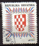 Stamps Europe - Croatia -  CROACIA REPUBLIKA HRVATSKA 1992 Michel 186C HERALDICA ESCUDO DE ARMAS USADO