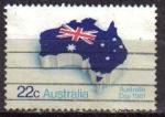 Stamps : Oceania : Australia :  AUSTRALIA 1981 Michel 740 SELLO DIA DE AUSTRALIA BANDERA EN RELIEVE DEL PAIS