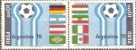 Stamps Peru -  CAMPEONATO  MUNDIAL  ARGENTINA  1978.  EMBLEMA  Y  BANDERAS  DE  PAÌSES  PARTICIPANTES.