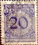 sello : Europa : Alemania : Intercambio mas 0,35 usd 20 pf. 1923