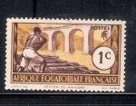Stamps Republic of the Congo -  Transporte de troncos en el Rio Loeme, Región de Mayumbé